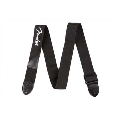 "Fender 2"" Black Poly Strap w/ White Fender Logo"