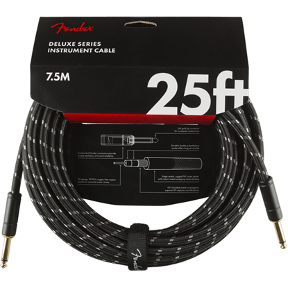 Fender Deluxe Series Instrument Cable 25' Black Tweed