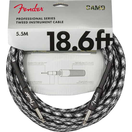 Fender Professional Series Instrument Cable 18,6' Winter Camo