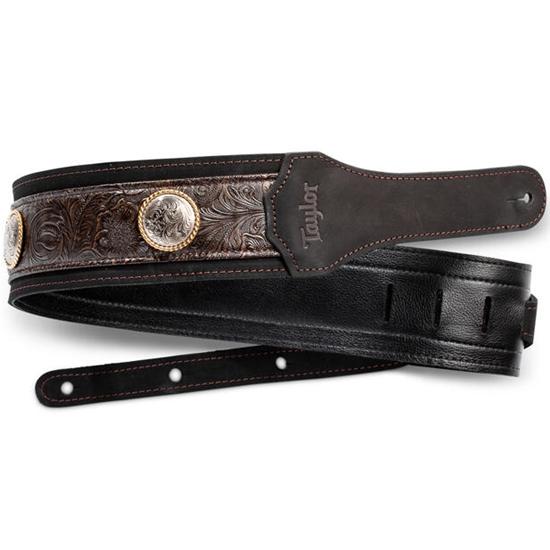 "Taylor Grand Pacific 3"" Nickel Concho Leather Strap Black"