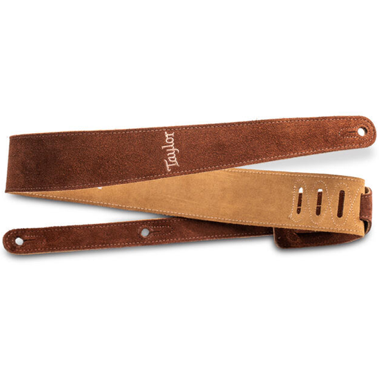 """Taylor 2.5"""" Embroidered Suede Guitar Strap Chocolate Brown"""
