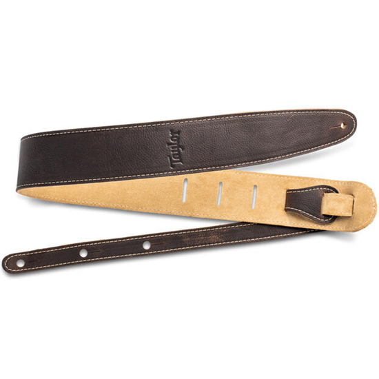 """Taylor 2.5"""" Leather Guitar Strap Suede Back Chocolate Brown"""