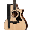 """Taylor Gemstone 2.5"""" Sanded Leather Guitar Strap Black"""