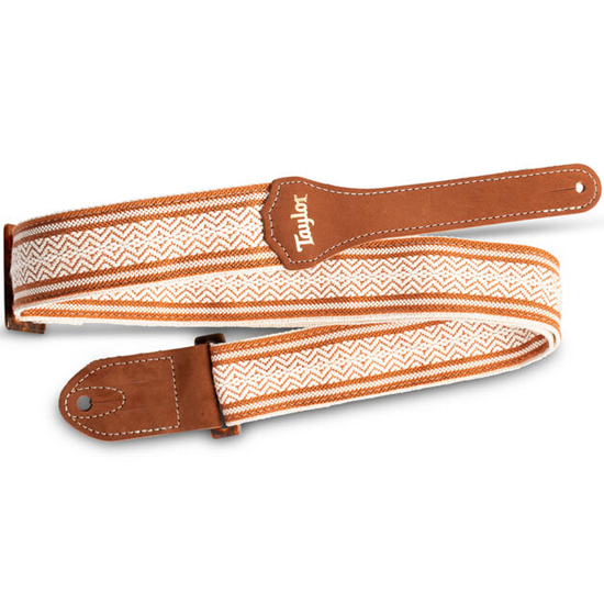 """Taylor 2"""" Academy Jacquard Leather Guitar Strap White/Brown"""