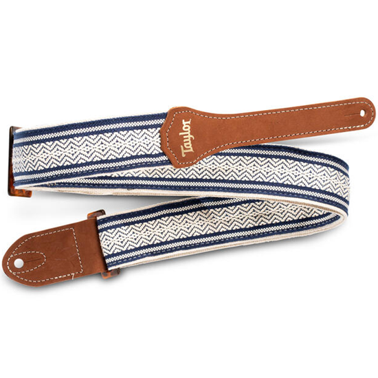 """Taylor 2"""" Academy Jacquard Leather Guitar Strap White/Blue"""
